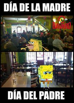La diferencias entre el #DíadelMadre y el #DíadelPadre #meme #Bobesponja #LOL