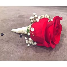 Wedding red rose boutonnière Red Rose Boutonniere, Red Rose Wedding, Red Roses, Red And White, Crown, Corona, Red Rose Flower, Crowns