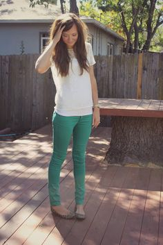 Bright jeans, simple top, & I'd do flip flops! Ideal summer or spring outfit