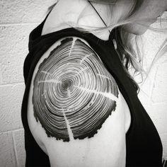 Very impromptu tree rings shoulder tattoo today. #treerings #wood #woodtattoo #tattoo #tattoodesign #denverink #denvertattoo #tree #blacktattoo #blackwork #blackworkerssubmission