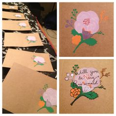 bridesmaids' cards in progress | will you be my bridesmaid?