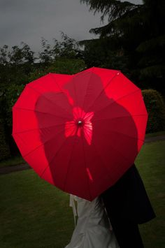 Red Heart Shaped Umbrella - Customised with your colour choice of rhinestones. Hand glued with specialist glue, to keep your beautiful brolly,