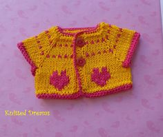 Charming hand-knitted cotton sweater with small hearts.  100% cotton.    I knit in smoke free and no pet place.  Ready to ship.