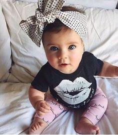 2016 Summer Newborn Top Newborn Infant Kids Baby Girls Lip T-shirt +Pants Outfits Clothes Set