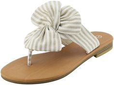 3c5c099bcf2957 Cambridge Select Women s Thong Flip-Flop Striped Knot Bow Flat Sandal   fashion  clothing
