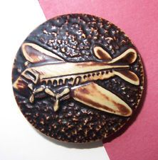 VIntage 1930s Celluloid Airplane Picture Button