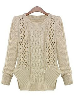 Apricot Long Sleeve Hollow Cable Knit Sweater US$32.46