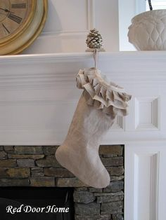 Linen Ruffle Top Stocking http://www.etsy.com/listing/62689206/ruffle-top-linen-christmas-stocking