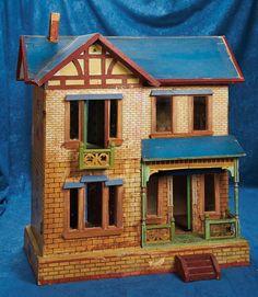 "Lot: 28"" (71 cm.) Large German Wooden Two-Story Dollhouse by Moritz Gottschalk 300/600 | Proxibid Auctions"