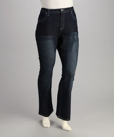Take a look at this Starwear Medium Blue Embellished Plus-Size Bootcut Jeans by Starwear on #zulily today!