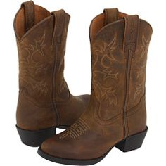 Ariat® Tombstone™ Youth Chocolate Brown w/ Green Stitching Square ...
