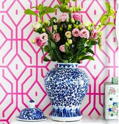 Anna spiro wallpaper, blue and white porcelain, vignette, pink and blue