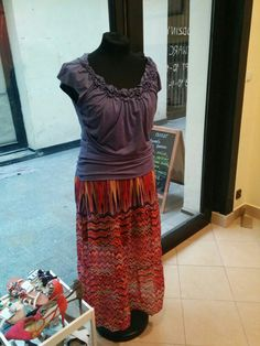 Phase Eight purple top & Educe long skirt