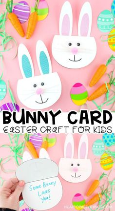 Simple Easter Bunny Card for kids -Make this cute bunny greeting card with our free printable template. Easy Easter craft for kids and diy Easter card. Easter crafts How to Make a Simple Easter Bunny Card Diy Easter Cards, Easter Art, Diy Easter Decorations, Bunny Crafts, Easter Crafts For Kids, Crafts For Teens, Easter Bunny, Toddler Crafts, Easter Ideas