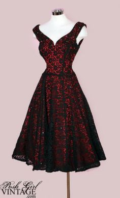 Stunning 1950's red dress with black lace overlay!