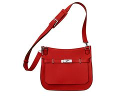 """Jypsiere 28 Hermes unisex shoulder bag in Casaque red taurillon clemence leather (size 28) 11"""" x 8.5"""" x 5""""<br />Front flap closure with swivel clasp. Adjustable strap with 5 holes and a shoulder pad for comfort. Inside includes front zip pocket, back large pocket with gusset and small pocket for cell phone Casaque Red"""