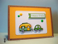 """For the @Lawnscaping Challenges & Spectrum Noir """"yellow & green"""" blog hop!! With a @Lawn Fawn stamp set and die (Happy Trails) and the Stitched journaling card die!!"""