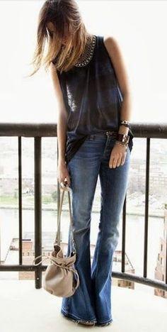 Blue Plain Low-rise Casual Long Pants #Hippie #Chic #Blue #Jeans #Denim  #Pants  #Bell #Bottoms