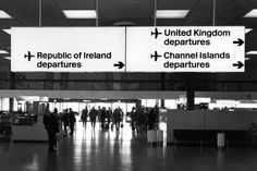 Jock Kinneir and Margaret Calvert – Internally illuminated black-on-yellow direction sign at Heathrow airport showing application of British Rail signing system, early Retail Signage, Wayfinding Signage, Signage Design, Glasgow Airport, Heathrow Airport, Airport Signs, Sign System, Exterior Signage, Directional Signs