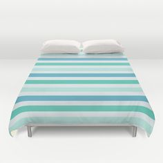 Beach #Blue And #Green and #White #Stripes #Duvet Cover by KCavender Designs - $99.00 #Duvet #Cover #Bedding #Bedroom #Decor By #KCavenderDesigns
