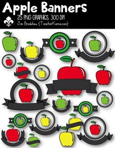 Apple Banners Clip Art. These ** 25 ** graphics are just perfect for adding to your classroom materials and educational products that you sell on Teachers Pay Teachers or other sell sites. Commercial and personal use is ok.