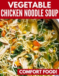 Vegetable Loaded Chicken Noodle Soup is the perfect way to soothe yourself after a long day. Whether you are sick, just chilly, or looking for a comfort soup, this chicken noodle is a must make. #soup #comfort #recipe #dinner #souprecipe #chicken #vegetables Yummy Chicken Recipes, Easy Dinner Recipes, Soup Recipes, Dinner Ideas, Cooking Recipes, Pasta Recipes, Dessert Recipes, Chicken Vegetable Noodle Soup, Crock Pot Soup