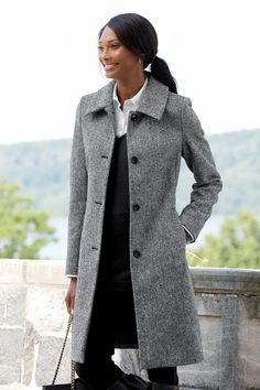 Shop Chadwicks of Boston for our Length Wool Coat. Browse our online catalog for more classic clothing, shoes & accessories to finish your look. Fall Fashion Outfits, Casual Winter Outfits, Look Fashion, Autumn Fashion, Womens Fashion, Fashion Trends, Fashion Coat, Fashion 2016, Casual Dresses