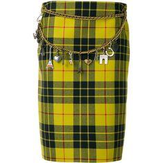 Balenciaga Tartan Pencil Skirt (€2.780) ❤ liked on Polyvore featuring skirts, plaid skirt, high-waist skirt, tartan pencil skirt, green pencil skirt and high waist knee length pencil skirt