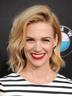 7 easy ways to style midlength hair: January Jones's messy, Debbie Harry-esque side-swept waves