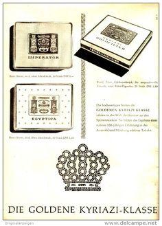 Original-Werbung/ Anzeige 1958 - 1/1 Seite - EGYPTICA / IMPERATOR / GOLDFILTER - KYRIAZI CIGARETTEN - ca. 200 x 280 mm