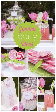 A lovely garden party for a girl birthday with pink and green candy and decorations! See more party ideas at CatchMyParty.com!