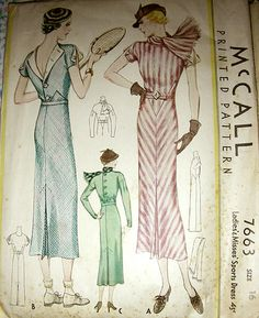 1930s McCall dress stripes