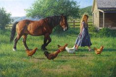 ROBERT DUNCAN TO THE BARN oil on canvas 40 x 60 in (101.6h x 152.4w cm) $25,000 We have a few chickens that are always in the middle of every thing we do outside, whether it is Sunday dinner in the backyard or gardening. They think they need to be involved. This painting of a friend walking the horse to the barn is an attempt to capture the lively interactions that happen with animals on the farm. Robert Duncan, 2015