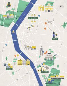 Seville Cartes illustrées pour la rubrique City Guide de Mint magazine. Noémie Cédille