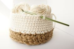 Jute and Cotton Crochet Basket