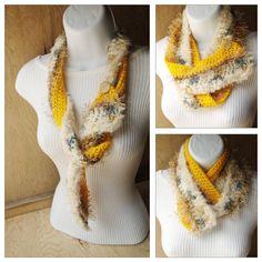 Crocheted Scarf  in jonquil tan ecru charcoal par PrettyYummy, $32.00
