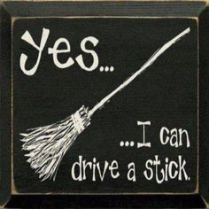 Yes...I can drive a stick funny witch drive lol stick halloween broom quotes