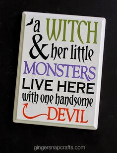 Halloween Sign GingerSnapCrafts.com