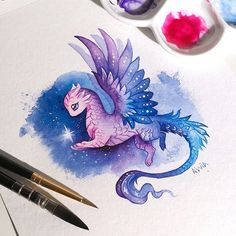 What could be a more precious treasure than a star for a space dragon💙✨ A little tribute for my shiny dragon pendants, I'm preparing some for the next Etsy sale at 16 June drawing Alvia Alcedo Cute Animal Drawings, Kawaii Drawings, Art Drawings Sketches, Cool Drawings, Fantasy Drawings, Cute Dragon Drawing, Dragon Sketch, Baby Dragon Drawings, Fantasy Dragon