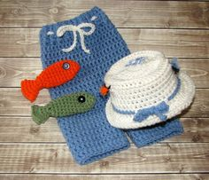 Crocheted Fly Fishing Hat and Pants Set by CreativeDragonfly