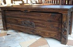 Wooden Blanket Box Coffee Table Trunk Vintage Chest Wooden Ottoman Toy Box (BT2)