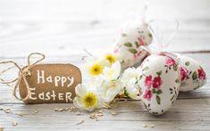 Télécharger fonds d'écran Les œufs de pâques, 4k, Joyeuses Pâques, décoration florale, décoration de pâques, Pâques