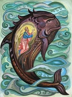 Sunday School Coloring Pages, Jonah And The Whale, Jesus Art, Mary And Jesus, Byzantine Icons, Biblical Art, Wale, Religious Icons, Art Icon