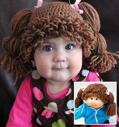 Cabbage Patch-Inspired Hat.  Pattern for sale by Amanda Lillie at Ravelry.com.  Awesome for Halloween!
