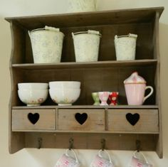 Wooden Wall Cabinet With Cutout Heart Drawers Wooden Walls, Shabby Chic Furniture, Shelving, Drawers, Make It Yourself, Cabinet, Heart, Tableware, House