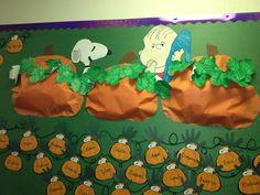 Charlie brown fall pumpkin bulletin board for the classroom