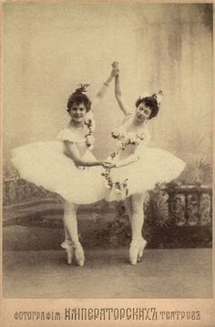 Pierina Legnani (left) — the first ballerina ever to be titled as Prima ballerina assoluta — with the Prima ballerina Olga Preobrajenskaya (right). They are costumed for the roles of Medora and Gulnare in the scene Le jardin animé from Marius Petipa's final revival of Le Corsaire for the Imperial Ballet in St. Petersburg 1899