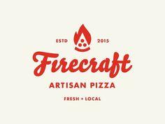 Firecraft Artisan Pizza logo by Allan Peters Logo Pizza, Pizza Branding, Pizza Menu, Pizzeria, Restaurant Logo, Pizza Restaurant, Bakery Logo, Business Logo Design, Branding Design