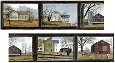 """Billy Jacobs Barn Border is perfect for country/primitive home decor. The border features 5 favorite barns from Billy's collection, in a 60"""" repeat pattern. The folk art style border is 9"""" high by 5 yards and has a black background. It is pre-pasted, strippable and scrubbable."""