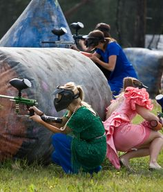 badass bachelorette party paint ball fight in horrible op shop dresses - have to do well in advance of wedding to let welts go down